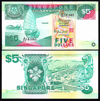 SINGAPORE $5 5 Dollars  P. 19 ND 1989 UNC Note