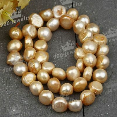 9-10Mm Cultured Freshwater Nugget Golden-2 Pearl Beads