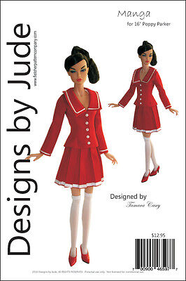 """Manga Doll Clothes Sewing Pattern for 16"""" Poppy Parker Dolls Integrity"""
