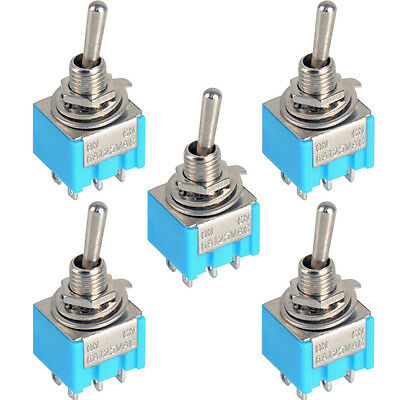 5pcs Blue 6-Pin DPDT ON-ON Mini MTS-202 6A125VAC Miniature Toggle Switches LSRG