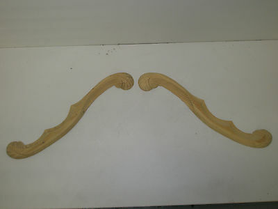 Decorative Hand Carved Pine  Wooden large ARCHED SCROLLS pair (310)