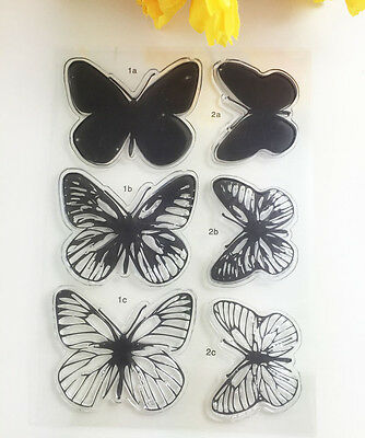 Hot 1 Sheet Silicone Transparent Stamp Seal butterfly DIY Scrapbooking Album