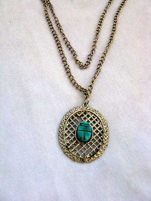"""Egyptian Pewter Oval Pendant Silver Plated With Green Scarab 13"""""""""""