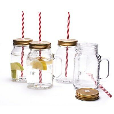 Mason Jar Mug glasses - Drinking Glasses - With Handle - Holds 1 Pint