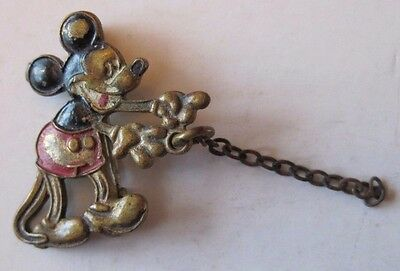 Antique 1930's Walt Disney Mickey Mouse Pin Back Figure Lapel Pin