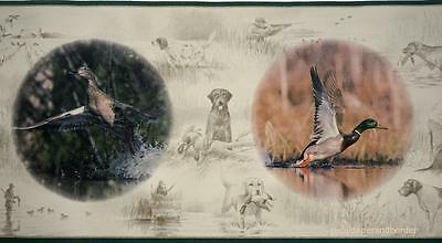 HUNTING OUTDOORS Wall Border Hunting Dog Wild Duck Wildlife Country Wall Decor