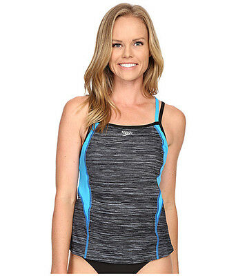 New Womens Speedo Texture Double Strap Tankini Top SIZE 12
