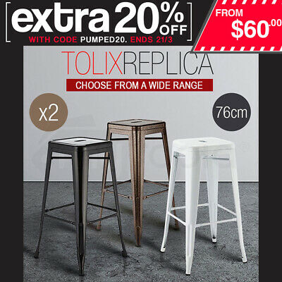 2 x Replica Tolix Bar Stools 76cm Steel Kitchen Cafe Metal Gloss Office Home