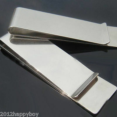 1Pc Stainless Steel Money Clip Silver Metal Pocket Holder Wallet Credit Card