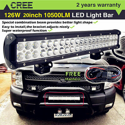 20 inch CREE Led Work Light Bar Flood Spot Offroad Jeep Boat Truck SUV ATV 4WD