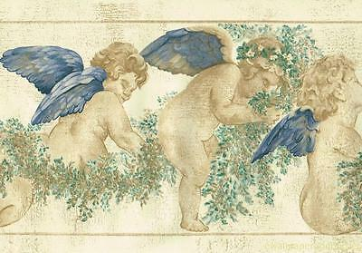 Celestial ANGELS CHERUBS Beige Wreath Crackle Plaster Stone Wallpaper Border