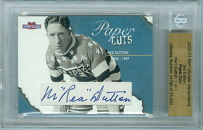 2002-03 Bap Red Dutton 1/1 Auto Hof Paper Cuts Ultimate 3Rd Edition Americans