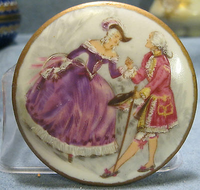 Vintage Round Hand Painted A F Limoge Placque 18th Century Couple Courting