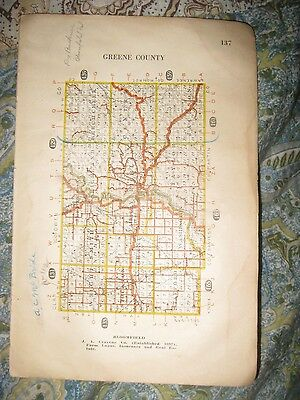 Antique 1917 Monroe Greene County Indiana Highway Road Map Railroad Bloomington