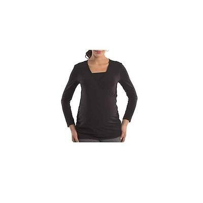 Maternity Long Sleeve Crossover Top, Black, Xlarge Great Expectations
