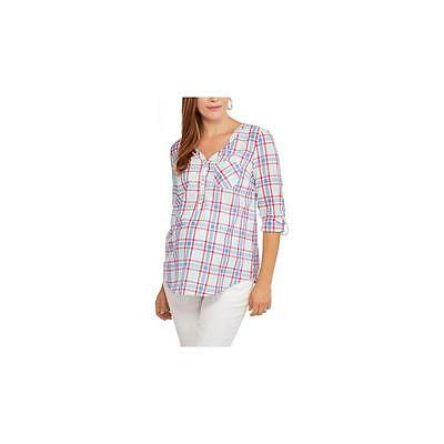 Maternity Roll Sleeve Popover Shirt, Blue Paradise, Xlarge Faded Glory