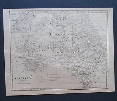 Antique Paper Map 1901  Black & White AUSTRALIA