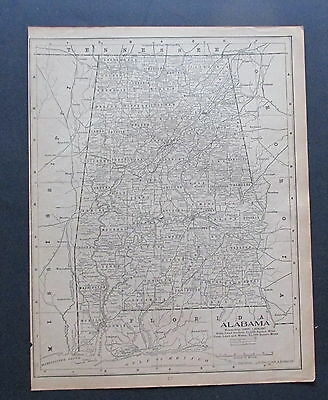 Antique Paper Map 1901  Black & White State ALABAMA