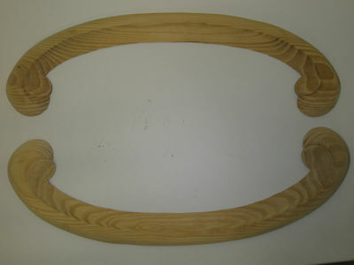 Decorative Hand Carved Pine  Wooden large ARCHED SCROLLS pair (440)