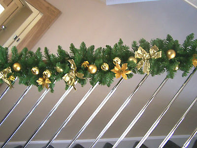 Luxury 2.7m Extra Thick Gold Bauble Poinsettia Bow Christmas Garland Swag 9ft ++