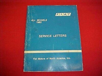 1979 1980 Fiat Spider 2000 X1 9 Shop Service Letters Bulletins Manual 79 80