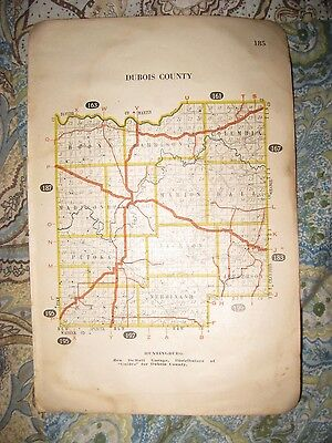 Antique 1917 Dubois Pike County Indiana Highway Road Railroad Map Winslow Rare