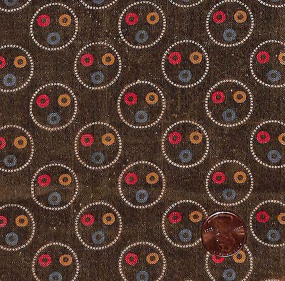 Antique 1880 Brown Circles Fabric