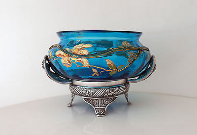 Pairpoint Aesthetic Silverplate Basket - Original Hand Painted Glass Grasshopper
