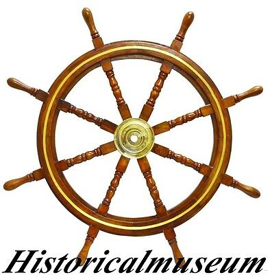 "Boat Steering Ships Wheel -With Brass Ring Pirate Captain 36""Nautical SALE SDFG5"