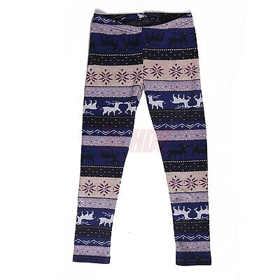 Girls Winter Leggings Stretchy Nordic Pattern Thick Warm Fleece Lined Pants
