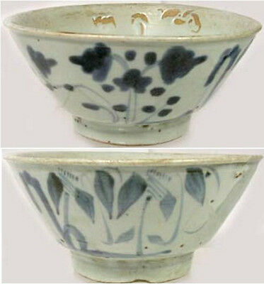 1600AD Superb Medieval China Handcrafted Blue + White Ming Glazed Ceramic Bowl