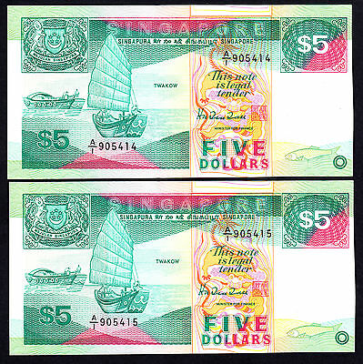Singapore ND 1989 $5  P. 19 UNC First Prefix A/1 Consecutive Pair RARE Note