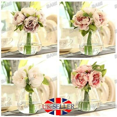 Home Wedding Garden Decor Artificial Fake Peony Silk Flower Bridal Hydrangea UK*