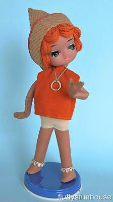 Brownie Downing Stocking Doll Orange Top Straw Hat Big Eyes Made In Japan Ex Con