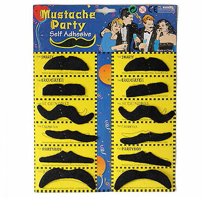 Set of 12 Stylish Costume Funny Party Fake Moustache Mustaches Black