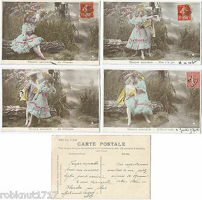 LOT 4 CPA FANTAISIE Stebbing Emaillographie amoureux joie TENDRE BADINAGE 285 A