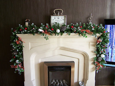 Luxury 2.7m Extra Thick Christmas Garland Swag w Red Toadstoosl bows Apples 9ft