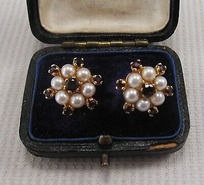 A Pretty Pair of Pearl & Garnet Earrings set in Solid 9ct Yellow Gold