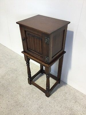 Antique Oak Bedside Cabinet Superb Quality 18thC Linenfold Design