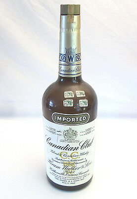 Vintage 1969 Canadian Club Blended Whisky HUGE One Gallon Bottle MD Tax Tags Cap