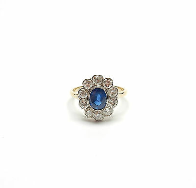 Vintage Sapphire And Diamond Cluster Ring 1940s Superb 18ct Yellow gold