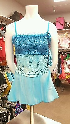 NEW COMPETITION SKATING DRESS Two Of  a Kind Xpression Turquoise CXL 12-14