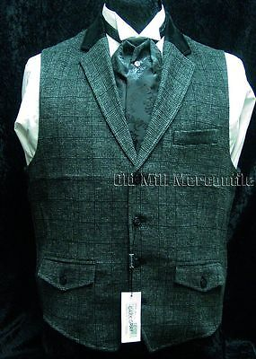 wedding Victorian Old West sass steampunk  single breasted  vest dark gray S-XXL