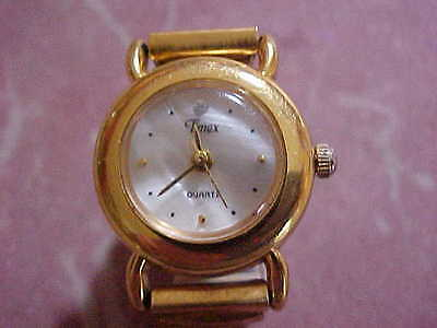 Vintage TIMEX Quartz Ring Watch Gold -Tone Expansion Band - WORKS PERFECTLY