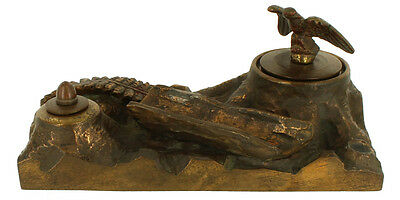 Antique American Victorian Cast Bronze Figural Tree Stump Base Inkwell