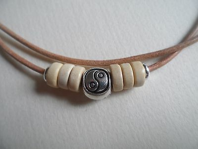 Natural Leather Tibetan Silver Yin Yang & Wooden Design Surf Necklace