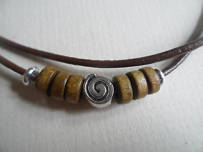 Brown Leather Tibetan Silver Spiral/Swirl & Wooden Design Surf Necklace