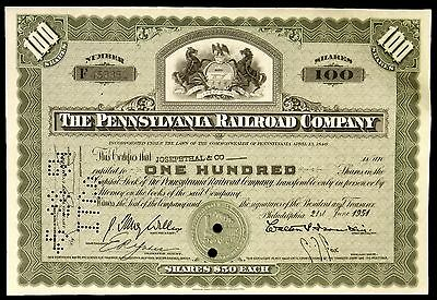 Stock Certificate Pennsylvania Railroad Company 100 Shares Capital Stock