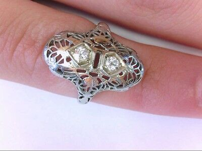 Antique Petite 14K WG 2-Diamond Anniversary Ring. Approx. .15 TCW.  3.75 US Size
