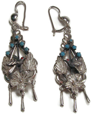 Antique Victorian Sterling Silver with Turquoise Beads Chandelier Bird Earrings